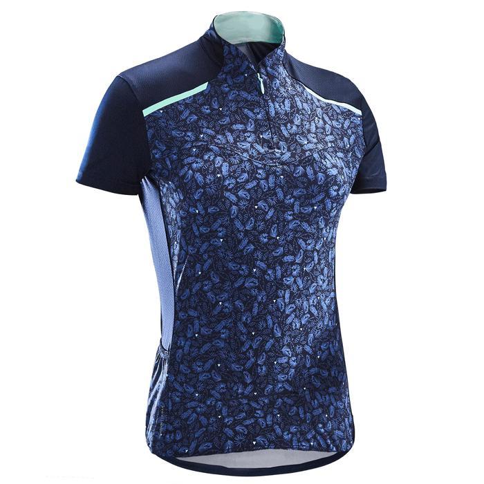 Fietsshirt 500 met korte mouwen voor dames blauw/liberty