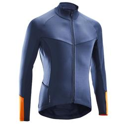 Fietsshirt lange mouwen wielertoerisme heren RC100 fris weer donkerblauw/oranje