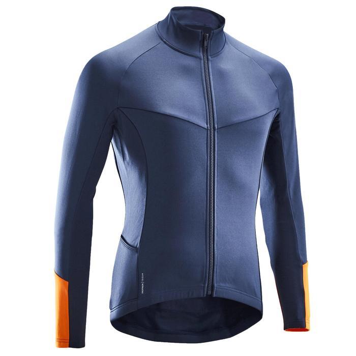 Fietsshirt met lange mouwen voor heren fris weer RC100 blauw/oranje