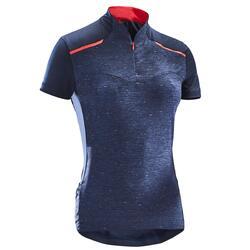 女款短袖自行車車衣500-軍藍色