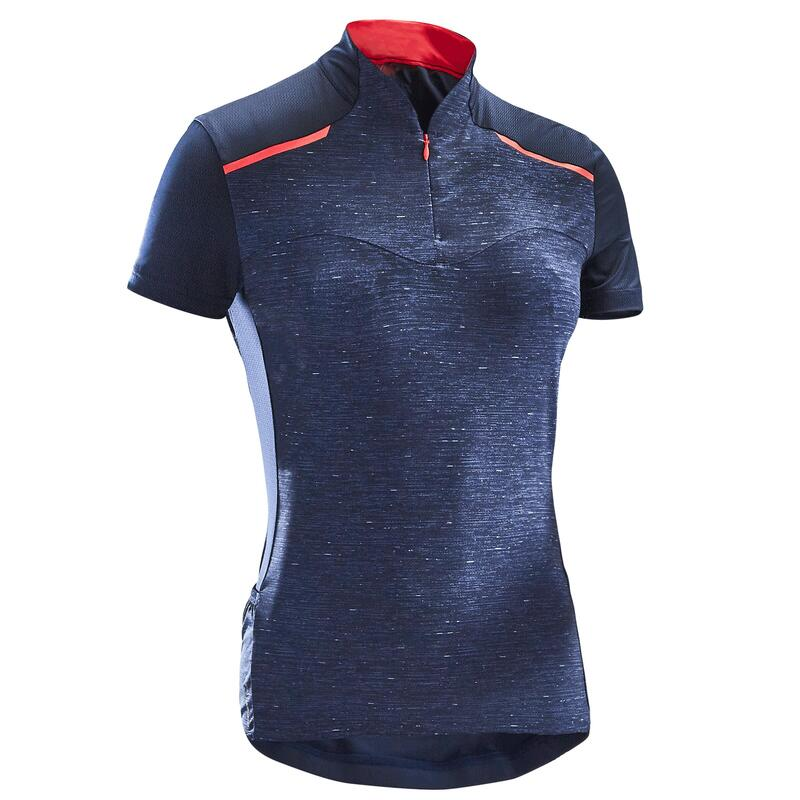 Women's Short-Sleeved Cycling Jersey 500 - Navy
