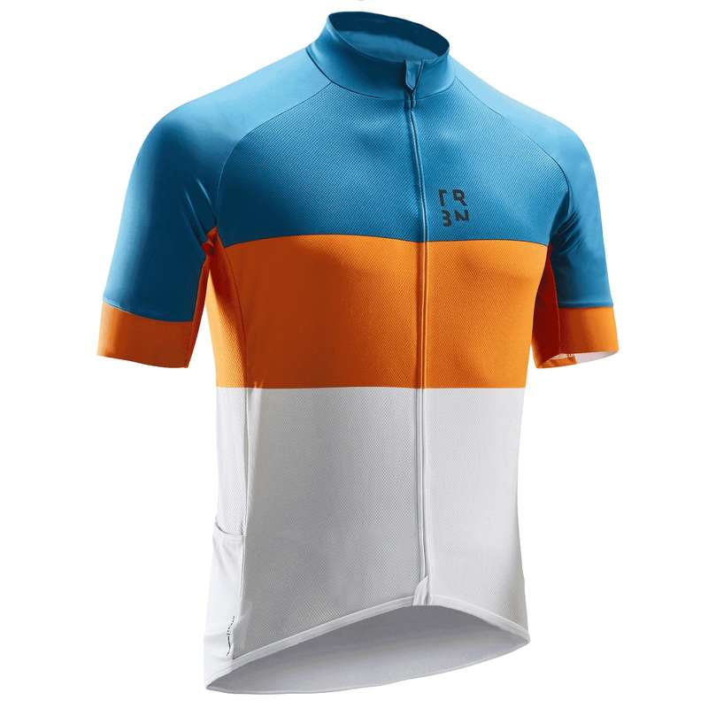 MEN WARM WEATHER ROAD CYCLING APPAREL - RC 500 Short Sleeve Cycling Jersey - Blue/Orange TRIBAN