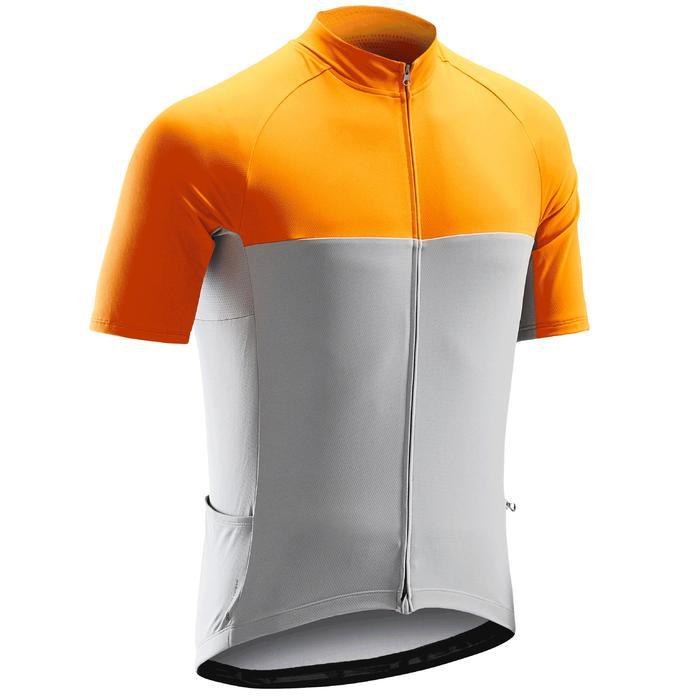Fietsshirt met korte mouwen voor wielrennen heren RC100 warm weer grijs/oranje