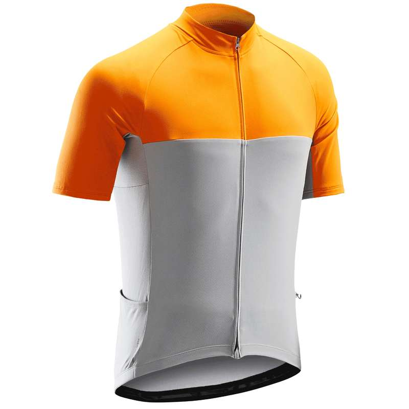 MEN WARM WEATHER ROAD CYCLING APPAREL Cycling - RC100 Cycling Jersey - Grey TRIBAN - Cycling