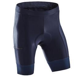 Wielrenbroek heren RC500 zonder bretels marineblauw met zakje