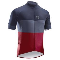 Fietsshirt met korte mouwen voor heren warm weer RC500 marineblauw/bordeaux