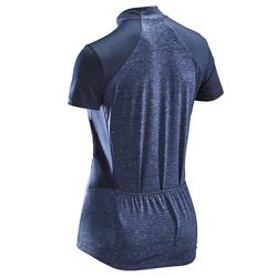 Fietsshirt met korte mouwen 500 dames marineblauw