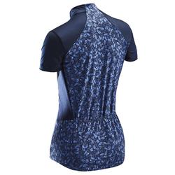 MAILLOT MANCHES COURTES VELO ROUTE FEMME TRIBAN 500 BLEU LIBERTY