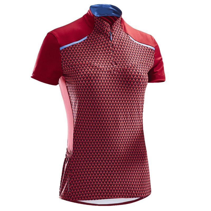 500 Women's Short-Sleeved Cycling Jersey - Pink Geometric