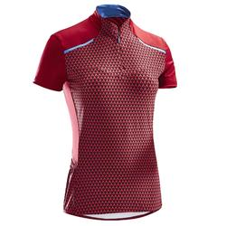 MAILLOT VELO MANCHES COURTES 500 FEMME ROSE GEOMETRIC