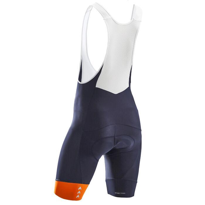 Fietsbroek met bretels voor heren wielertoerisme RC100 marineblauw/oranje