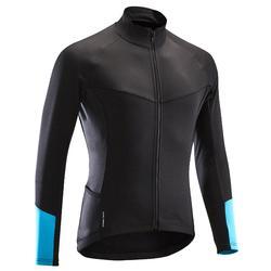 Fietsshirt lange mouwen wielrennen heren RC100 fris weer zwart/blauw/turquoise