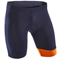 RC100 Bibless Road Cycle Touring Shorts - Navy/Orange