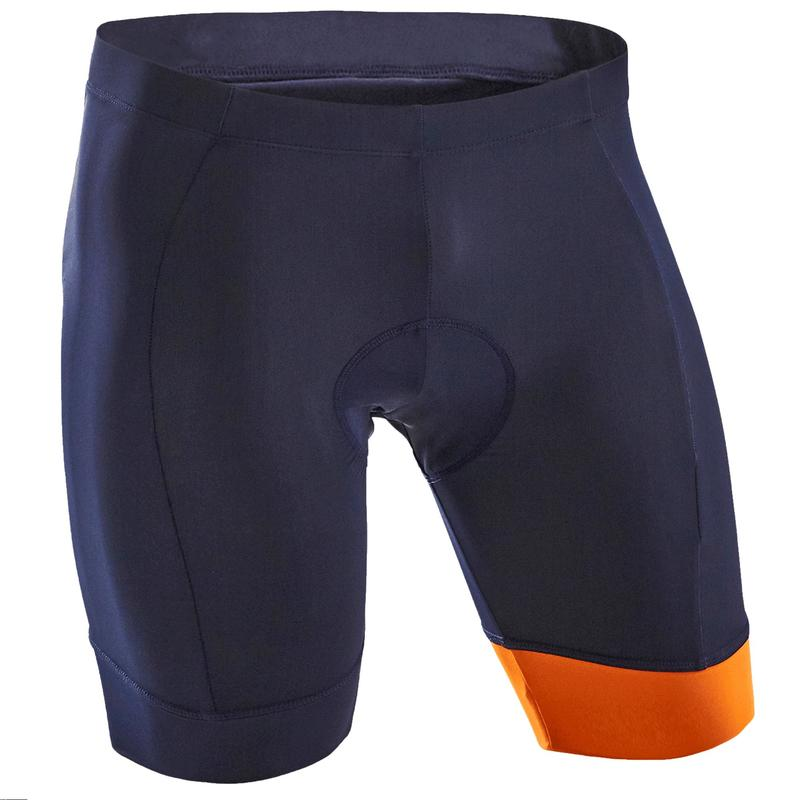 Cosciali ciclismo uomo RC100 blu-arancione