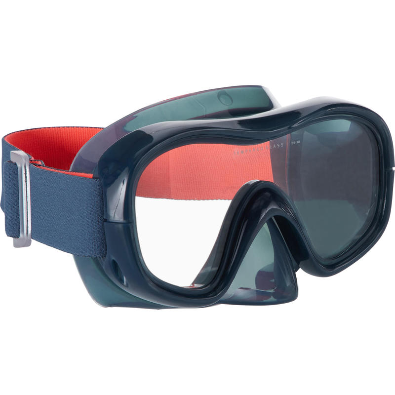 Adult Tempered Glass Snorkelling Mask SNK 520 storm grey
