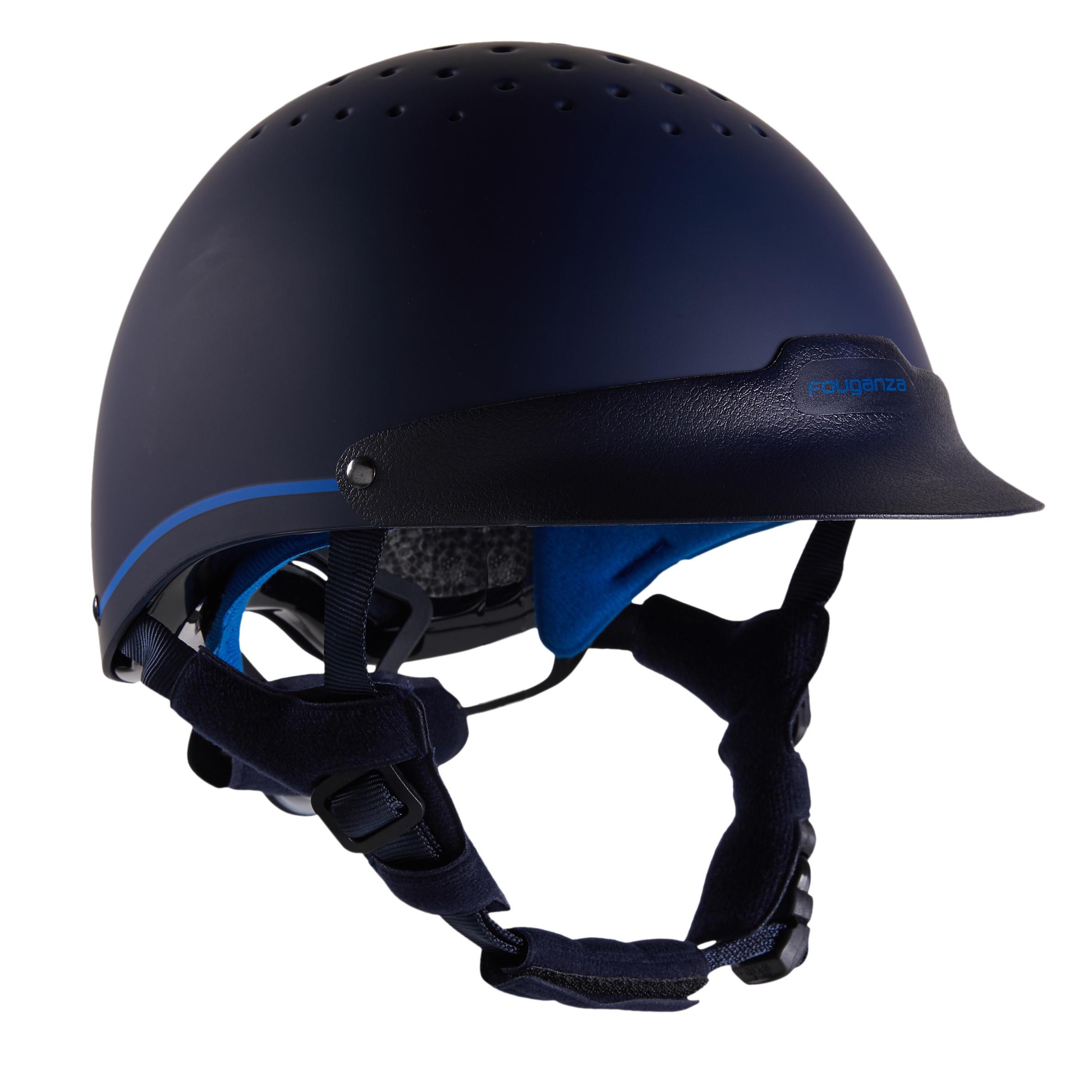 120 Riding Helmet - Navy/Royal Blue - M/55-58cm By FOUGANZA | Decathlon