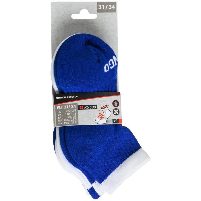 Halfhoge sportsokken kinderen Artengo RS 500 blauw/wit 3 paar