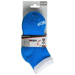 Tennissocken RS 500 Mid Kinder 3er Pack blau/weiß/gelb