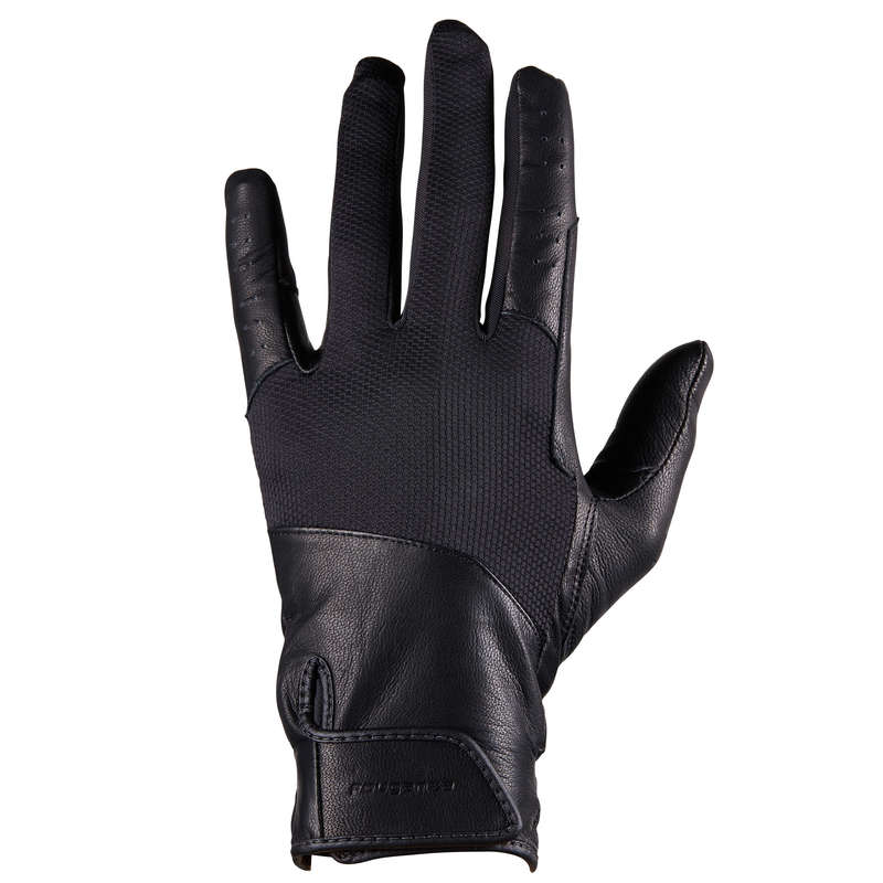 RIDING GLOVES ADULT Horse Riding - 960 Gloves - Black FOUGANZA - Horse Riding