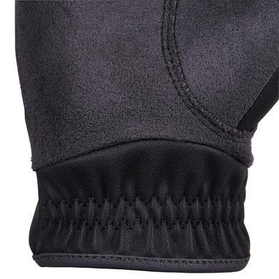Дитячі рукавиці 500 для кінного спорту - Чорні/Сірі
