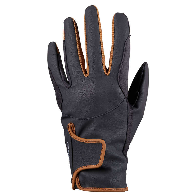 HORSE RIDING GLOVES JUNIOR Clothing  Accessories - 500 Kids' Gloves - Grey/Camel FOUGANZA - Accessories