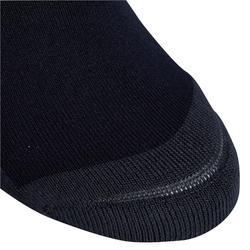 Chaussettes équitation fille 100 noir/rayures blanches