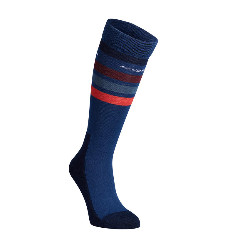 100 Girls' Horse Riding Socks - Bluish Grey/Red Stripes