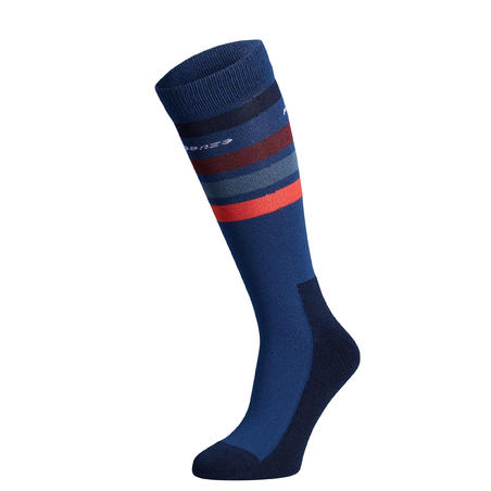 100 Girls' Horse Riding Socks - Bluish Grey/Red Stripes