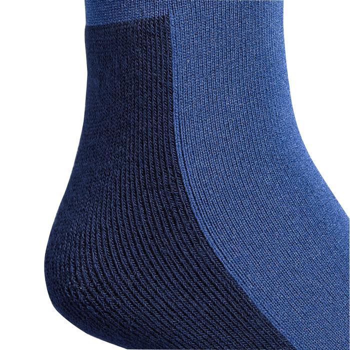 Chaussettes équitation fille 100 gris bleuté/rayures rouges
