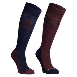 Reitsocken 500 Kinder marineblau/bordeaux