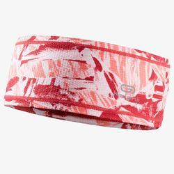 Hardloophoofdband roze camouflage Kalenji