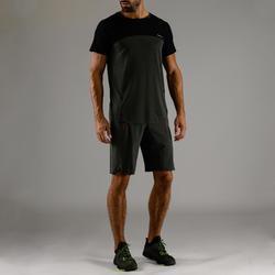 Camiseta Manga Corta Fitnes Cardio Domyos Hombre Gris Y Negro FTS 920