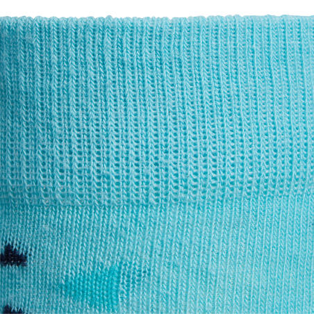 Girls' Horse Riding Socks 500 Print - Navy/Turquoise