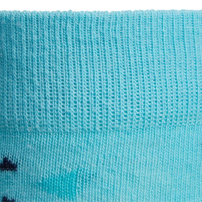 Paardrijsokken voor meisjes 500 print marineblauw en turquoise