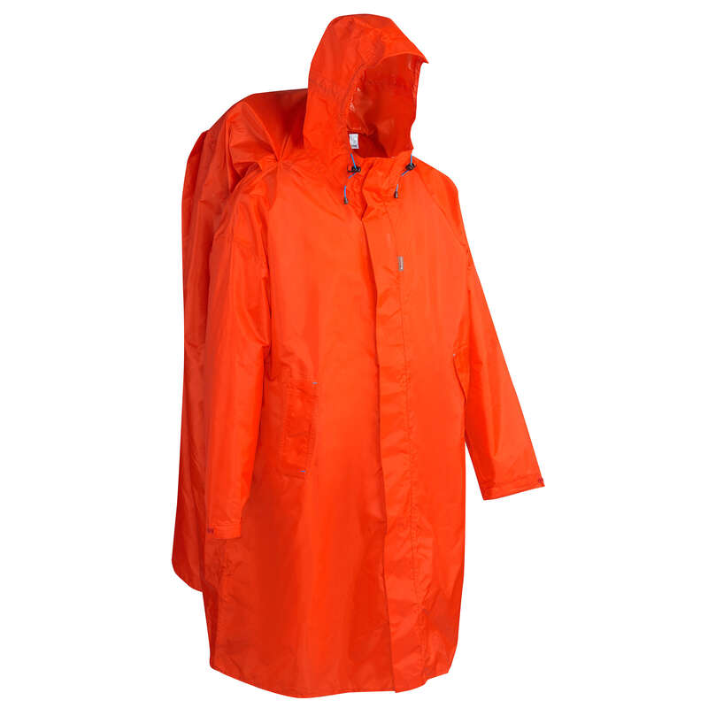 PONCHOS HIKING/TREK Hiking - Arpenaz 75 Litre Waterproof Poncho L/XL- Red QUECHUA - Hiking Jackets