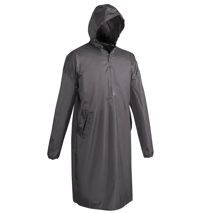 Poncho pluie de randonnée - ARPENAZ 40L gris - Taille S/M