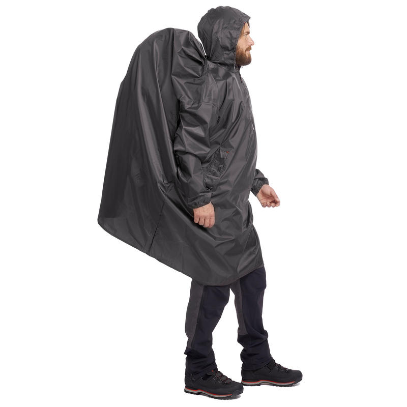 Hiking Rain Poncho Arpenaz 40L Size L/XL - Grey