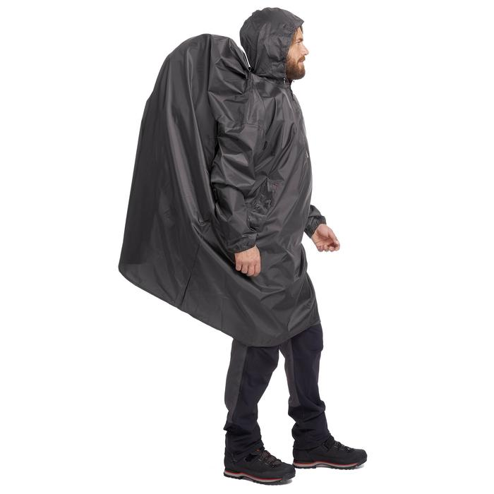 Poncho lluvia de senderismo - ARPENAZ 40L gris Talla XS
