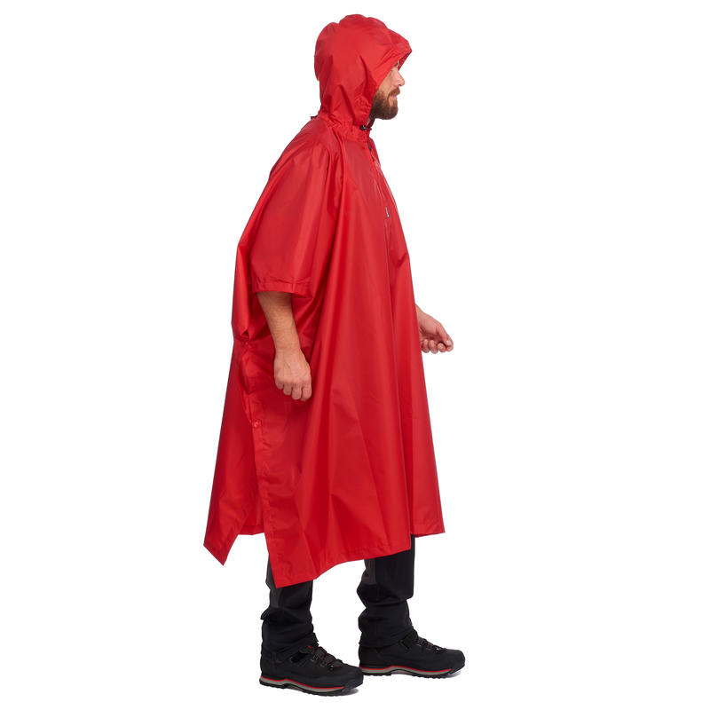 Adult Hiking Rain Poncho Arpenaz 25 - Red