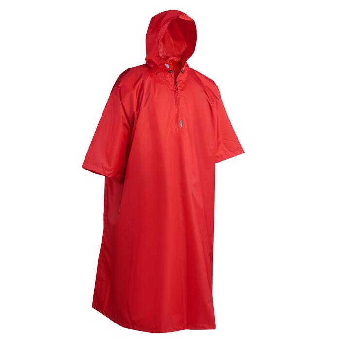 Regenponcho voor trekking volwassenen Arpenaz 25 liter rood