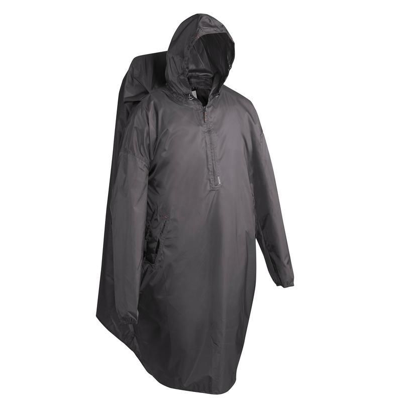 Poncho para chuva de caminhada - ARPENAZ 40L cinzento - Tamanho S/M