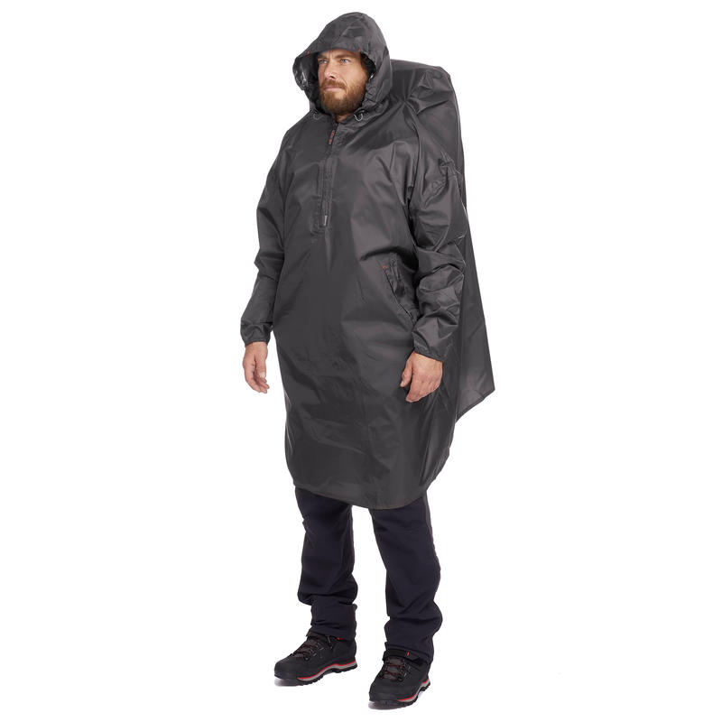 PONCHO IMPERMEABLE 40 LITROS GRIS OSCURO
