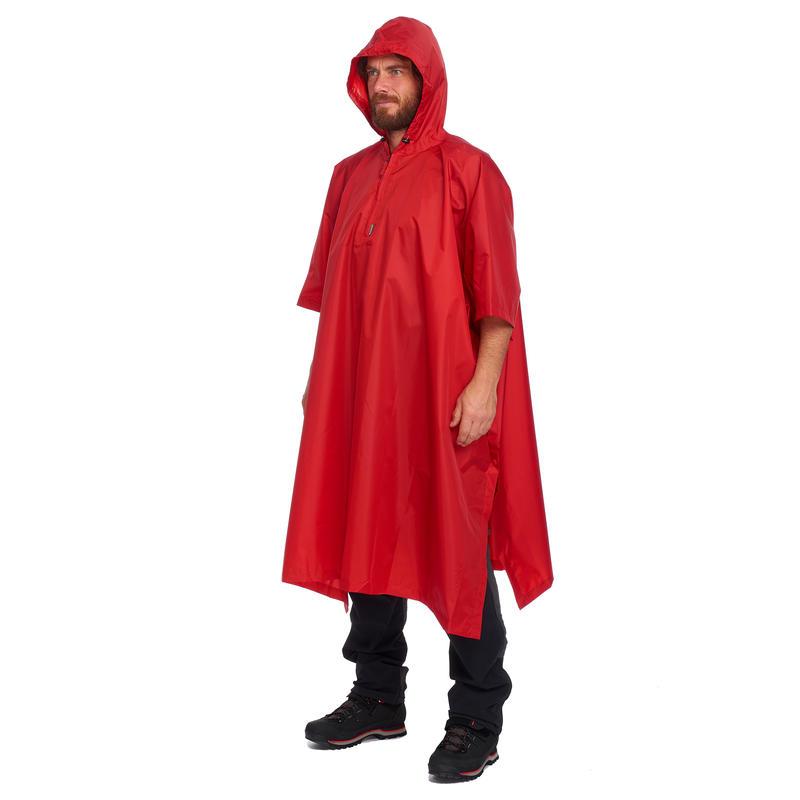 Adult Hiking Rain Poncho Arpenaz 25 - Red