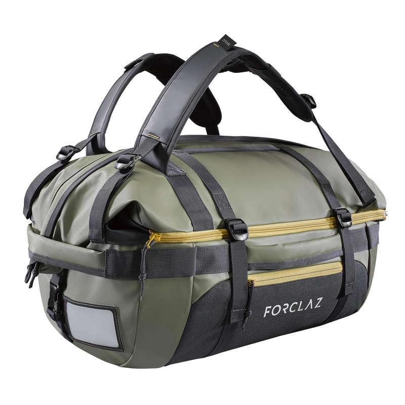 TRANSPORT BAGS, DUFFLE HIKING/TREK Trekking - Voyage 40 - 60L Extendable Holdall - Khaki FORCLAZ - Trekking