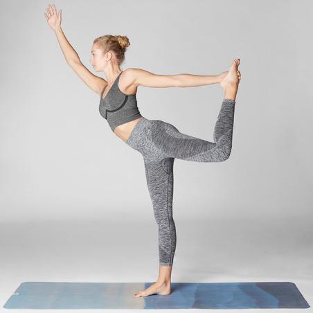 brassiere longue sans coutures yoga dynamique gris chine