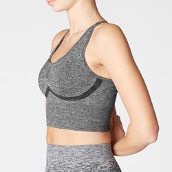 Top Sujetador Deportivo Yoga Domyos 500 Sin Costuras Mujer Gris
