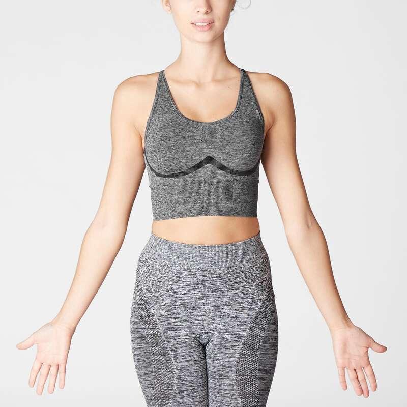 WOMAN YOGA APPAREL - Long Dynamic Yoga Sports Bra DOMYOS