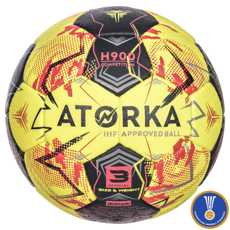 HANDBALL BALLS Handball - H900 IHF S3 Adult - Yellow/Red ATORKA - Handball