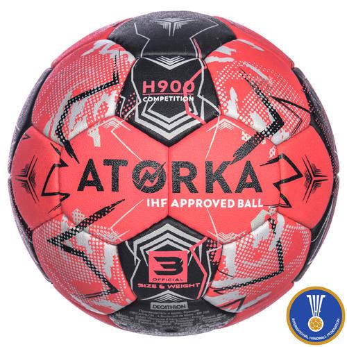 ballon de handball taille 3 h900 adulte ihf rouge / noir