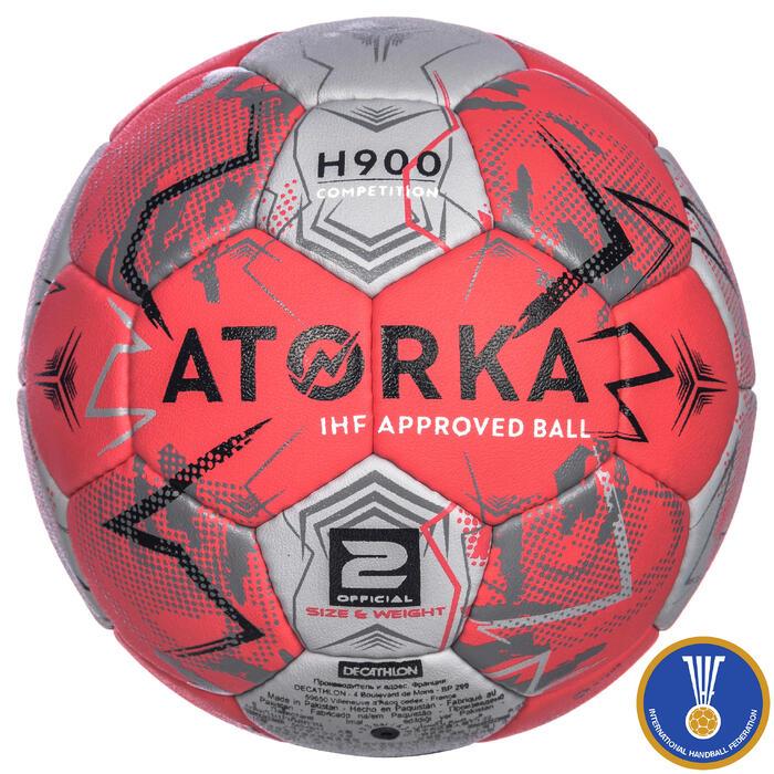 Ballon de handball H900 IHF Taille 2 rose et gris